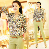 2014 the new fashion lady chiffon shirt women long sleeve v-neck hearts broken beautiful shirt /three size, free shipping