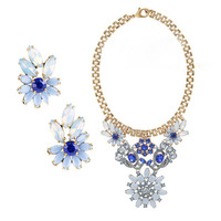 2013 new luxury blue flowers pendant rhinestone brand designer bib statement choker women necklace dress wholesale free shipping