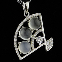 Natural crystal moonstone pendant 925 pure silver gemst0ne neon cat-eye gentlewomen fan