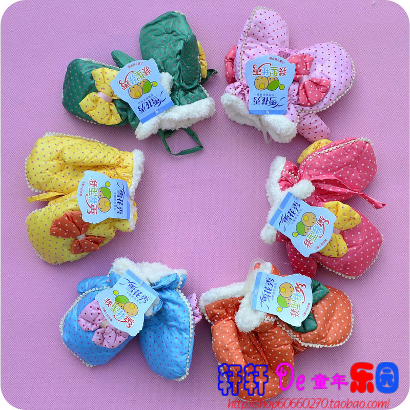 2013 1057 winter double layer plus velvet child gloves bow gloves Baby Kid glove 100% cotton Free shipping(China (Mainland))