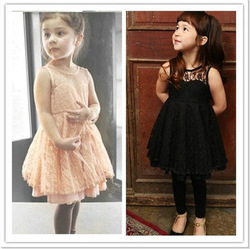 Baby Girls Kids Fashion Lace V Back Party Pageant Wedding Dress Clothing SZ 2-7T(China (Mainland))