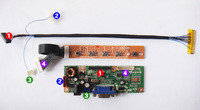 10 10.2 Inch 1024x600 Netbook LCD Screen DIY Desktop Monitor Controller KIT LED Driver Board 30pin LVDS Cable  HSD100IFW1