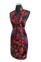 Sexy Black red Chinese tradition Ladies Cheongsam Qipao Evening dress Wedding Mini Club Dress Size:S M L XL XXL XXXL