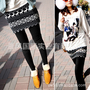 YBB Elk snowflakes fawn step on the foot bottoming culottes was thin Leggings false two even skirt I001(China (Mainland))
