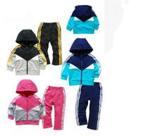 Free Shipping! Baby Kids Toddler Tracksuit Sportwear Hoodies Hoody Outfit Garment Outwear + Pant girl 2pcs set