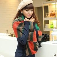 YBB C198 210x65cm Winter New Korean Version Of Ruili Variety Temperament Hit Color Bar Fashion Knitted Shawl Scarf Women
