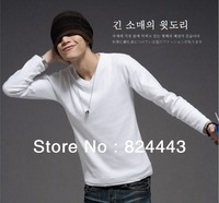 Free shipping 2013 summer fashion sport cotton blend v neck long slevee t shirt for men Optional multi-color