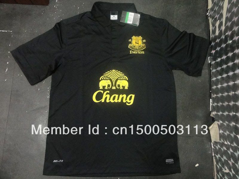Everton Away Black Soccer Jersey 13/14,Soccer Uniform with Embroidery Brand Logo,Best Quality Soccer Shirt(China (Mainland))