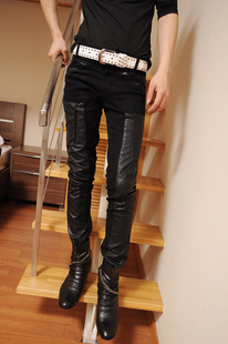 Street fashion handsome the boys leather pants tight perfect patchwork the trend of casual male motorcycle trousers(China (Mainland))