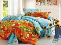 New Beautiful 100% Cotton 4pc Doona Duvet QUILT Cover Set bedding sets Full Queen King 4pcs cartoon colorful orange blue