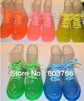 free shipping PVC Transparent Colorful Crystal Clear Flats Heels Water Shoes Female Rainboot Martin Rain Boots many designs