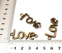 10PCS Antique Bronze Alloy Metal Charms Love Connectors DIY Jewelry Findings Necklace Bracelet Pendants