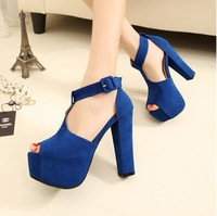 Wholesale free shipping 2013 spring female fashion casual beautiful sexy cutout thick heels open toe high-heeled sandals shoes