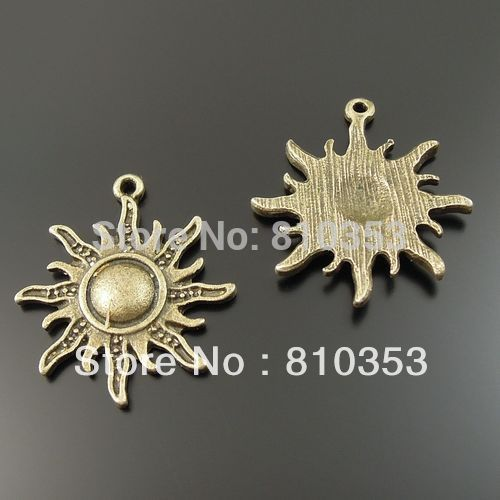 Whosesale Antique Style Bronze tone Alloy Sun Symbol Charms Pendants 25mm 20PCS 33320(China (Mainland))