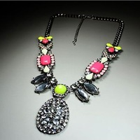 Free Shipping Color mix fashion rhinestone elegant lady necklace long design royal necklace W482