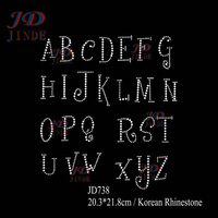 Free shipping 20pcs/lot 26 Alphabet Best Nam Song Korean Rhinestone Iron On Letters DIY For T-Shirt Free Custom Design