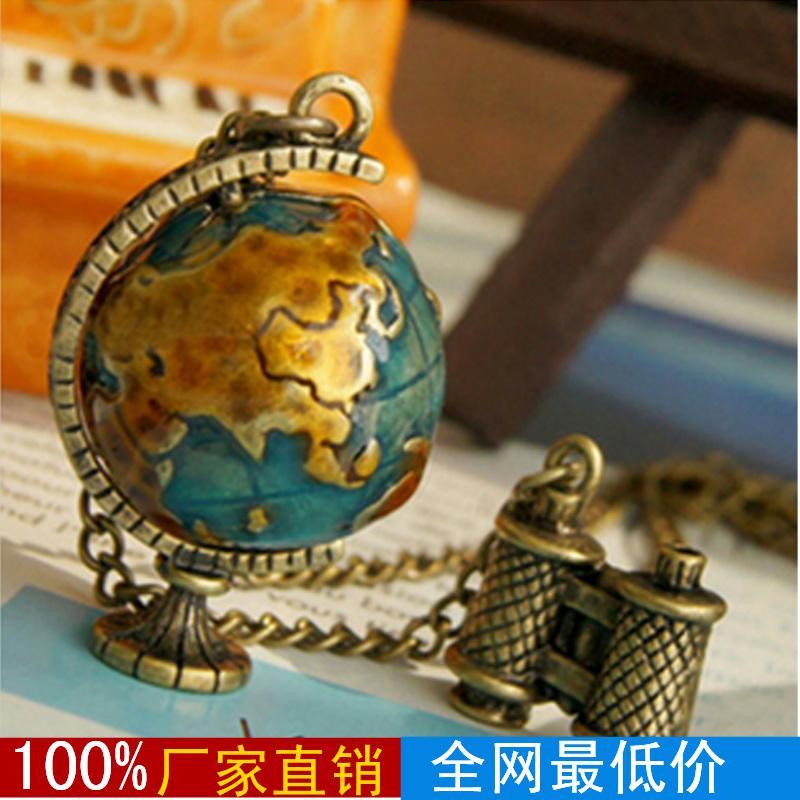 Min.order is $15 (mix order) Fashion vintage hl20107 accessories globe telescope necklace female 38g(China (Mainland))
