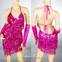 Whole sale Lady Cocktail Club Wear Party Latin Dance Glove Asymmetric Sequin Fringe hot sale Dress 2051