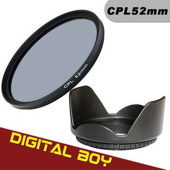 Digital boy 52mm Lens Hood + 52mm CPL Circular polarizing Filter Kit for Nikon D5100 D3200 D3100 D3000 LF135 Free Shipping