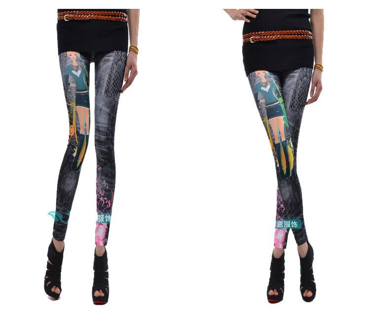 Free shiping New  arrival  Sexy Ladies Women Cartoon Beauty  Girls Pattern  Graffiti  Leggings Pants Trouser Black& White