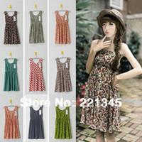 2014 spring and summer basic one-piece dress vintage high waist  tank dress