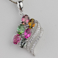 Natural crystal tourmaline pendant 925 silver gemst0ne
