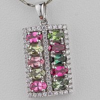 Natural crystal tourmaline pendant 925 silver square gemst0ne