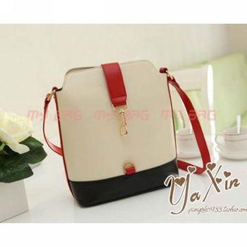Vintage Korea style high school bag Retro Contrast color PU Leather Shoulder student bag women handbag BK39