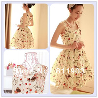 Gril's Clothing Chiffon Printed Sleeveless One-piece Summer Sashes Dress Fashion Mini Dresses 016