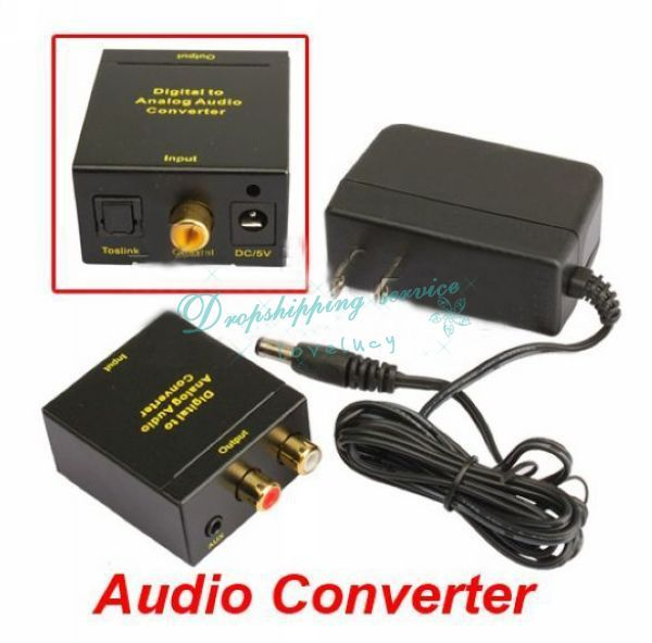 Digital Optical Coaxial Toslink To Analog RCA Audio Converter Black Switch Box DHL Wholesale(China (Mainland))
