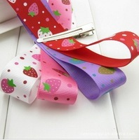 "120 Yards free shipping cartoon strawberry ribbon 1""(25mm) Ribbon 4 colors rib knitting garment accessories ribbon"