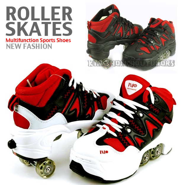New fashion boys retractable Heelys roller skate shoes TPR sole Rubber 4 rollers shoes(12023)(China (Mainland))