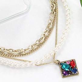 Accessories multicolour rhinestone gem square white short simulated-pearl multi-layer necklace(China (Mainland))