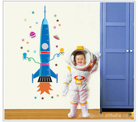 new design removable cartoon wall sticker rocket 60*90 cm kids' height measure sticker  free shipment