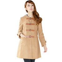 Winter women's rosasmode camel single breasted overcoat with a hood