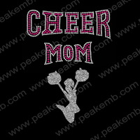 30pcs/Lot Wholesale Hot Fix Cheer Mom Heat Transfer Glitter Iron Ons For Clothes Decoration Free Shipping  And Custom Design