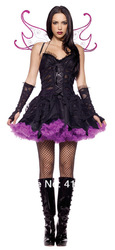 Gothic Dark Fairy Costume Adult Women Cosplay Costume Lolita Dress Wicked Witch Costume ML9012(China (Mainland))