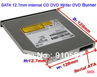 Free shipping, Slim Internal Optical Drive 12.7mm CD DVD Writer DVD Burner for laptop SATA interface with 8X DVD ROM 24X CDROM