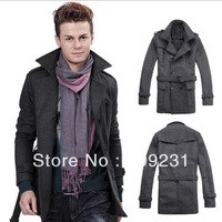 1X Hot Men Winter Fashion Double Breasted Long Belted Pea Trench Coats Jackets I0166