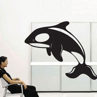 Free Shipping Whale Wall Sticker Kid Room Mural Art Vinyl Wallpaper Home Window Glass Decoration Decal W219(China (Mainland))
