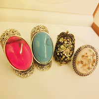Pl790 Fashion Accessories Vintage Gem Ring Oval Bohemia Index Finger Ring Female Finger Ring 4 Designs Free Shipping
