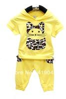 Free Shipping 2013 Summer Baby Girls Cat 3D Pocket 2pcs Suit Leoperd Cattoon Short Shirt Hoodies+100%Cotton Half Pants-1139