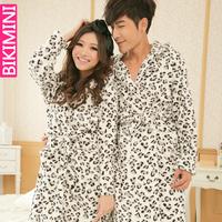 free 2014 winter women and men sexy bathrobe penhoar feminino brand lover leopard print soft coral fleece hooded dressing gown