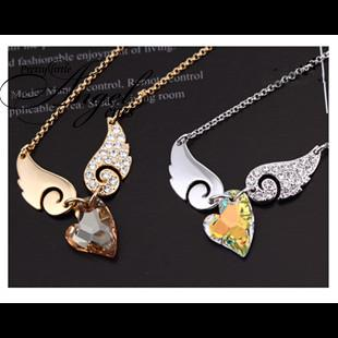 free shipping 18k gold plated Austrian crystal element angel wings necklace birthday gift OXX14(China (Mainland))