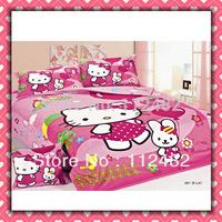 Reactive dyes printed 4pcs Bedding Hello kitty Cotton Bedding Set Children's Free Shipping