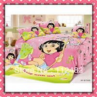 Reactive dyes printed 4pcs Bedding Dora the explorer Bedding Set Children's Free Shipping