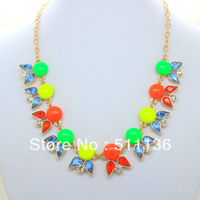 2013 New Design Fashion Gold JC Bird Neon Acrylic Statement Necklaces for women KK-SC165 Retail