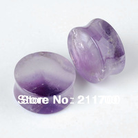 1 Pair Organic Natural Amethyst Semi Precious Stone Saddle Ear Plugs Tunnel Gauge ear expander stud free shipping