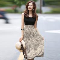 Dresses new fashion Arrival 2014 summer print dreses ladies sleeveless long silk dress sleeveless high waist casual dress