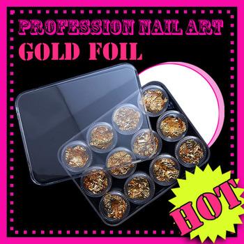 12 PCS GOLD FOIL FLAKE Acrylic UV Gel Nail Art Decoration Paillette EL057 free shipping